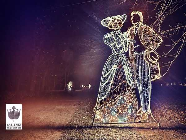 Romantyczne łazienki Królewskie Z Iluminacją świąteczną